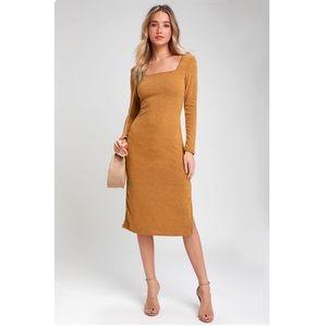 Rona Camel Knit Long Sleeve Midi Sweater Dress